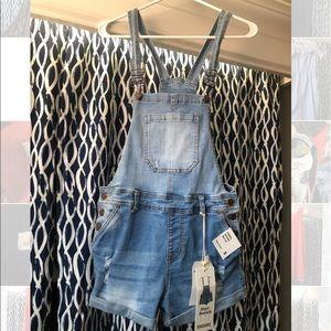 Light denim overalls